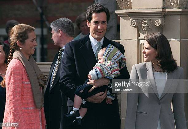 Infanta Princess Elena Of Spain With Her Family And Princess Victoria Of Sweden At The Greek Cathedral In London For The Christening Of Konstantine...