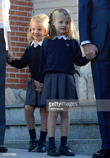 Infanta Sofia of Spain and Infanta Leonor of Spain arrive at 'Santa Maria de los Rosales' School on September 14 2012 in Aravaca near of Madrid Spain