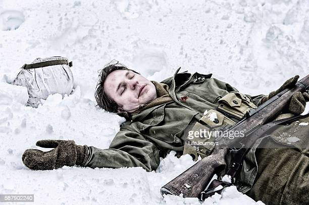 wwii us infantry fatality - dead soldier stock photos and pictures