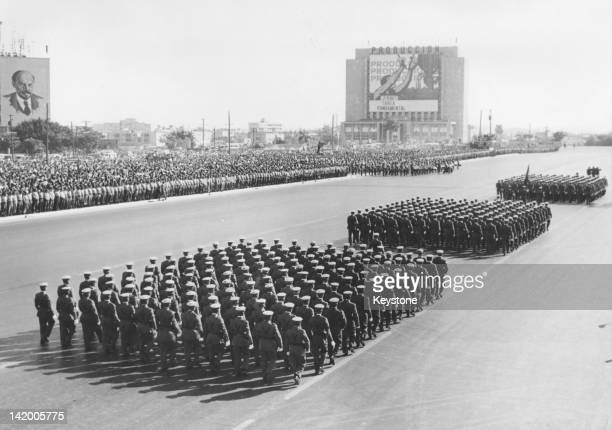Infantry officer cadets marching in a military parade during celebrations of the sixth anniversary of the Cuban Revolution, Havana, Cuba, 12th...
