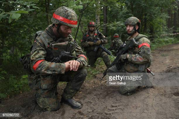 Infantry soldiers of the Bundeswehr the German armed forces take part in a reconassaince mission during Thunder Storm 2018 multinational NATO...