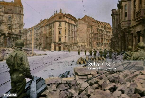 Infantrymen Entering Frankfurt Germany Central Europe Campaign Western Allied Invasion of Germany 1945