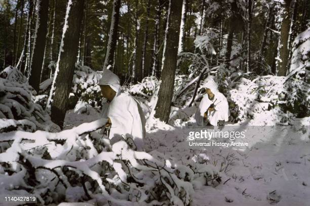 Infantrymen Wearing Snow Capes ArdennesAlsace Campaign Battle of the Bulge January 1945