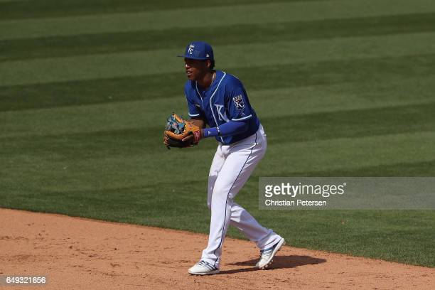 Infeilder Raul Mondesi of the Kansas City Royals in action during the spring training game against the San Francisco Giants at Surprise Stadium on...