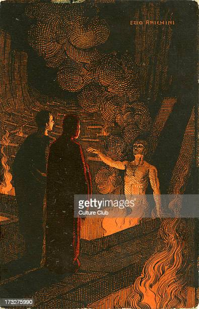 Inferno by Dante illustration Alighieri Dante Italian author Florentine poet 1265 September 13/14 1321 Illustration by Ezio Anichini Italian artist...
