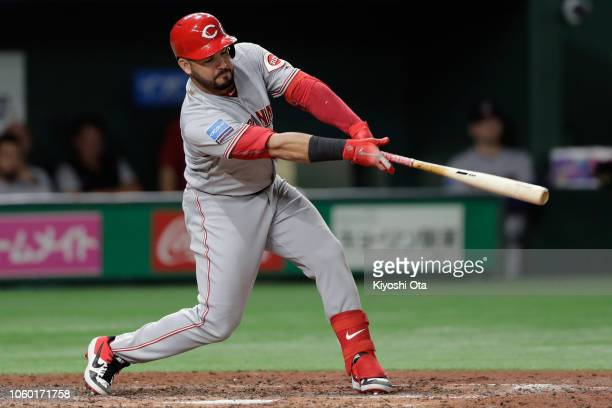 Infiedler Eugenio Suarez of the Cincinnati Reds hits a RBI double to make it 61 in the top of 7th inning during the game three of Japan and MLB All...