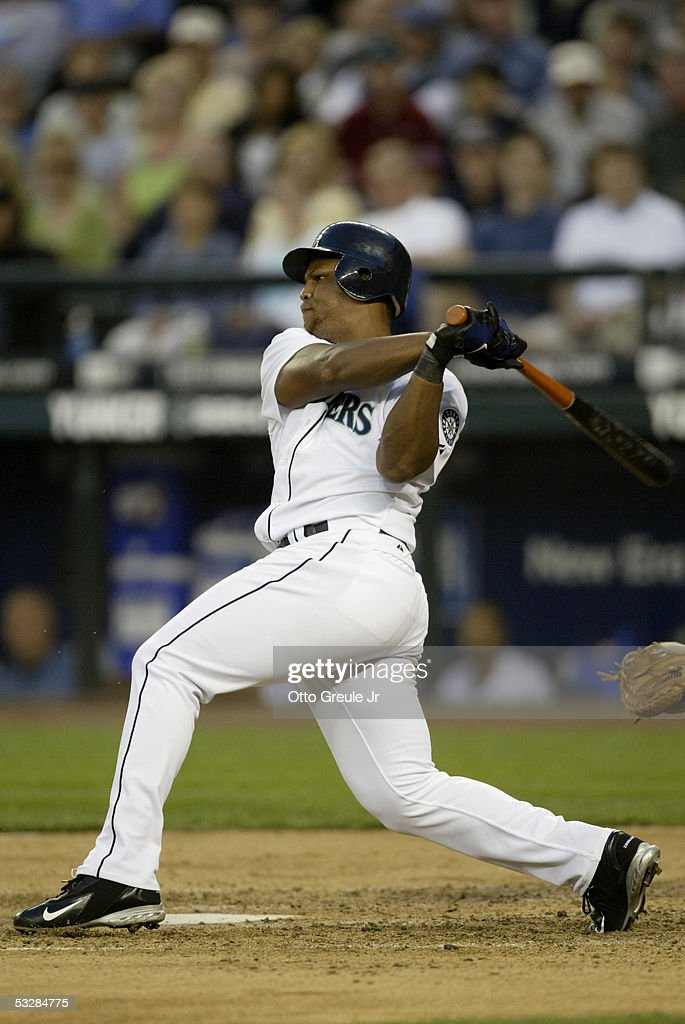 Infielder Adrian Beltre #5 of the Seattle Mariners swings for a Baltimore Orioles pitch during the game on July 14, 2005 at Safeco Field in Seattle Washington. The Orioles won 5-3.