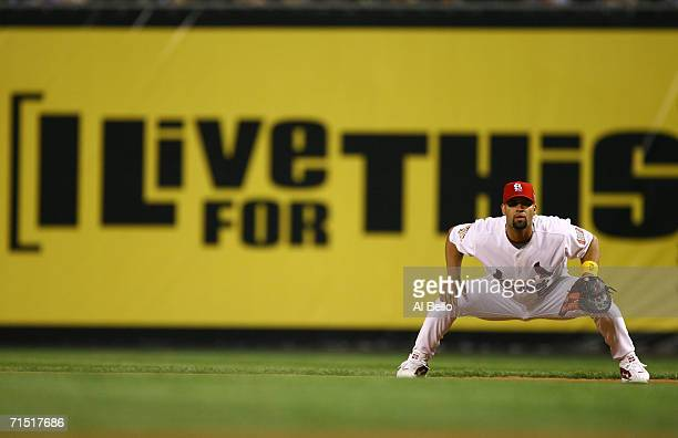 Infielder Albert Pujols of the National League AllStar team plays defense against the American League AllStar team during the 77th MLB AllStar Game...