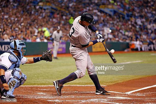 Infielder Alex Rodriguez of the New York Yankees fouls off a second inning pitch against the Tampa Bay Rays during the game at Tropicana Field on...