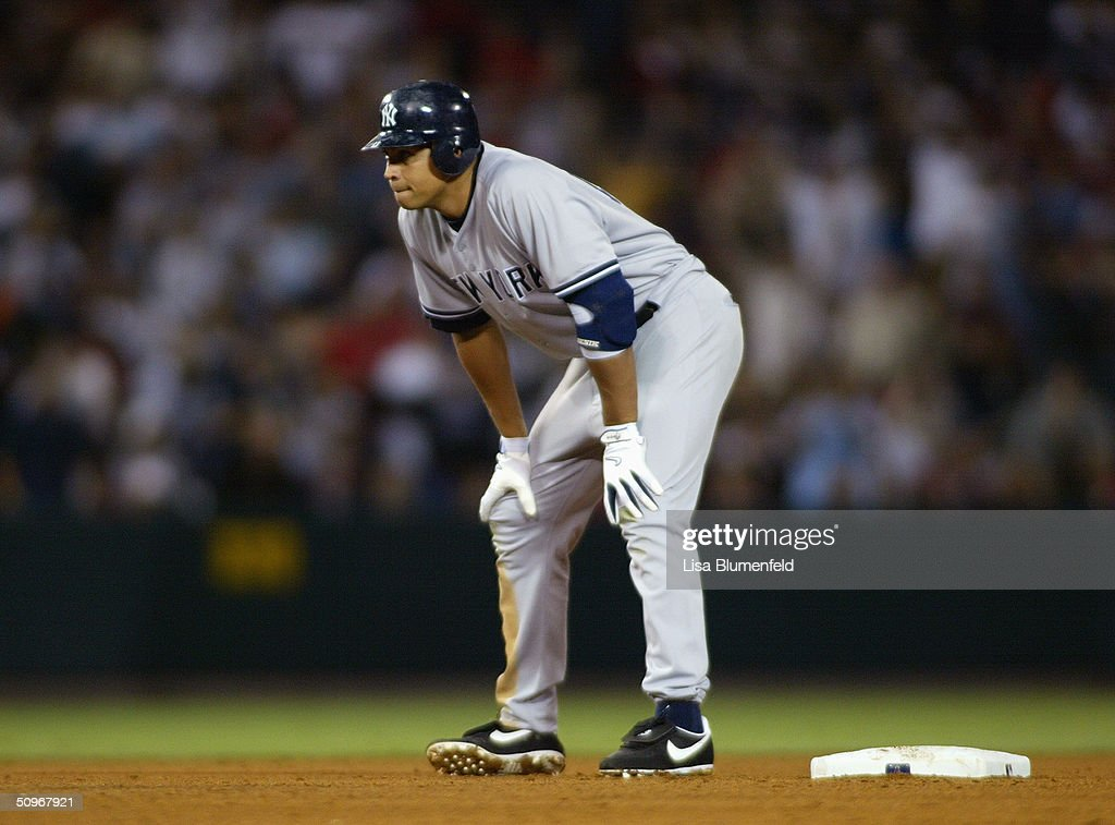 Infielder Alex Rodriguez #13 of the New York Yankees leads off during the game against the Anaheim Angels at Angel Stadium on May 19, 2004 in Anaheim, California. The Yankees won 4-2.