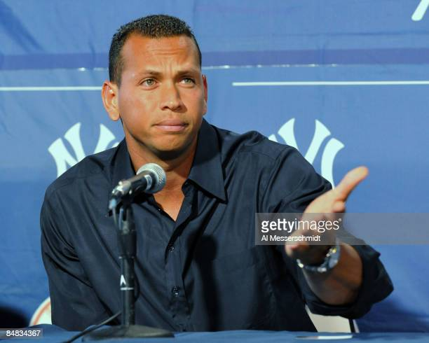 Infielder Alex Rodriguez of the New York Yankees pauses during a press conference about his performance enhancing drug use at the George Steinbrenner...