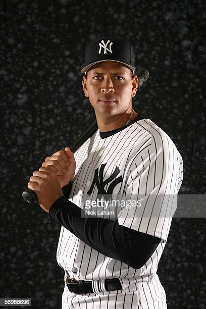 Infielder Alex Rodriguez of the New York Yankees poses for a portrait during the New York Yankees Photo Day at Legends Field on February 24 2006 in...