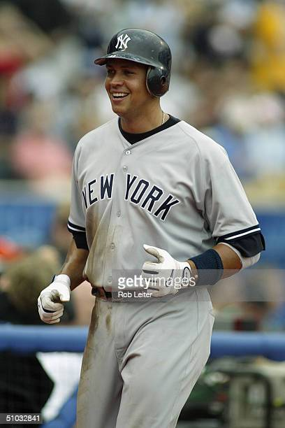 Infielder Alex Rodriguez of the New York Yankees smiles during the interleague game against the Los Angeles Dodgers at Dodger Stadium on June 19 2004...