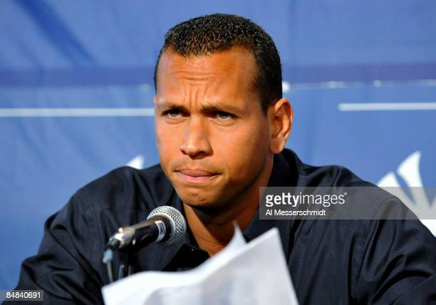 Infielder Alex Rodriguez of the New York Yankees talks during a press conference February 17, 2008 at the George M. Steinbrenner Field February 17,...