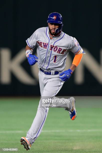 Infielder Amed Rosario of the New York Mets celebrates hitting a solo homer to make it 10 in the top of 3rd inning during the game one of the Japan...