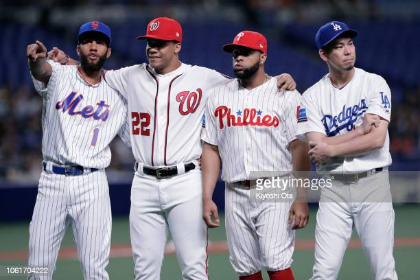 Infielder Amed Rosario of the New York Mets Outfielder Juan Soto of the Washington Nationals Infielder Carlos Santana of the Philadelhia Phillies and...