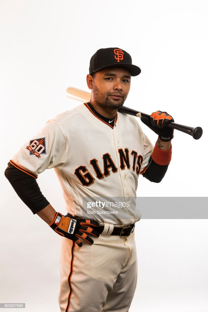 Infielder Andres Blanco (88) poses for a photo during the San Francisco Giants photo day on Tuesday, Feb. 20, 2018 at Scottsdale Stadium in Scottsdale, Ariz.