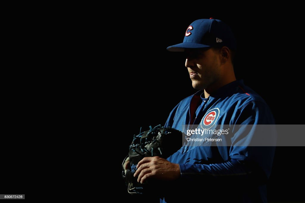 Infielder Anthony Rizzo #44 of the Chicago Cubs warms up before the MLB game against the Arizona Diamondbacks at Chase Field on August 11, 2017 in Phoenix, Arizona.