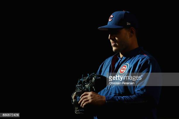 Infielder Anthony Rizzo of the Chicago Cubs warms up before the MLB game against the Arizona Diamondbacks at Chase Field on August 11 2017 in Phoenix...