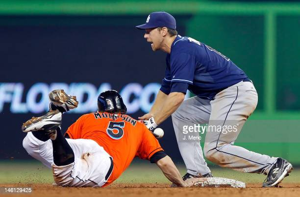 Infielder Ben Zobrist of the Tampa Bay Rays cannot handle the throw at second as outfielder Logan Morrison of the Miami Marlins gets back safely...