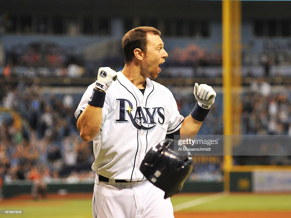 Infielder Ben Zobrist #18 of the Tampa Bay Rays yells as pinch hitter James Loney #21 homers in the bottom of the 9th inning to defeat the Baltimore Orioles 5 - 4 September 23, 2013 at Tropicana Field in St. Petersburg, Florida.