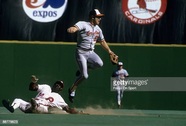 Infielder Bobby Bonner of the Baltimore Orioles gets his throw off to first base avoiding the slide of Gary Matthews of the Philadelphia Phillies in...