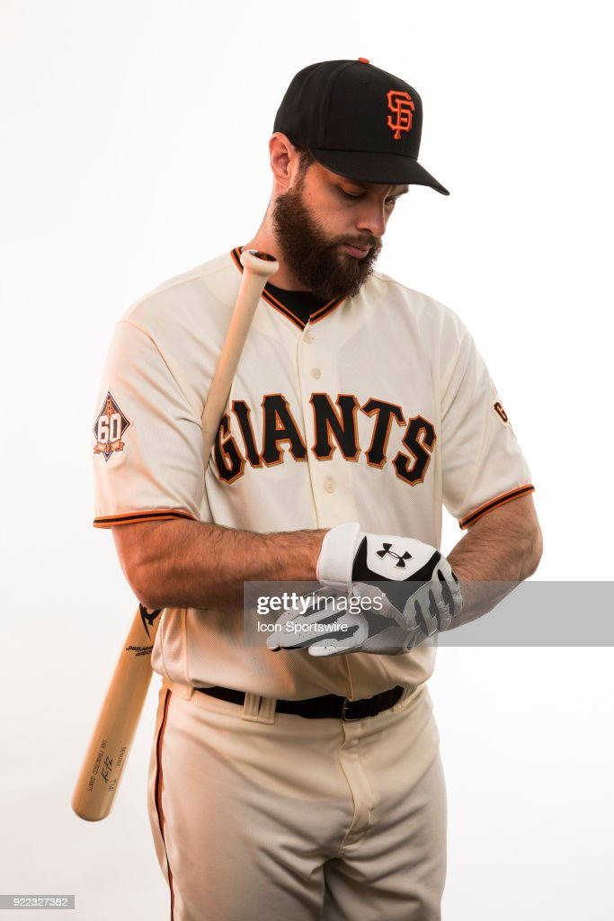 Infielder Brandon Belt (9) poses for a photo during the San Francisco Giants photo day on Tuesday, Feb. 20, 2018 at Scottsdale Stadium in Scottsdale, Ariz.