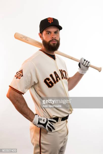 Infielder Brandon Belt poses for a photo during the San Francisco Giants photo day on Tuesday Feb 20 2018 at Scottsdale Stadium in Scottsdale Ariz