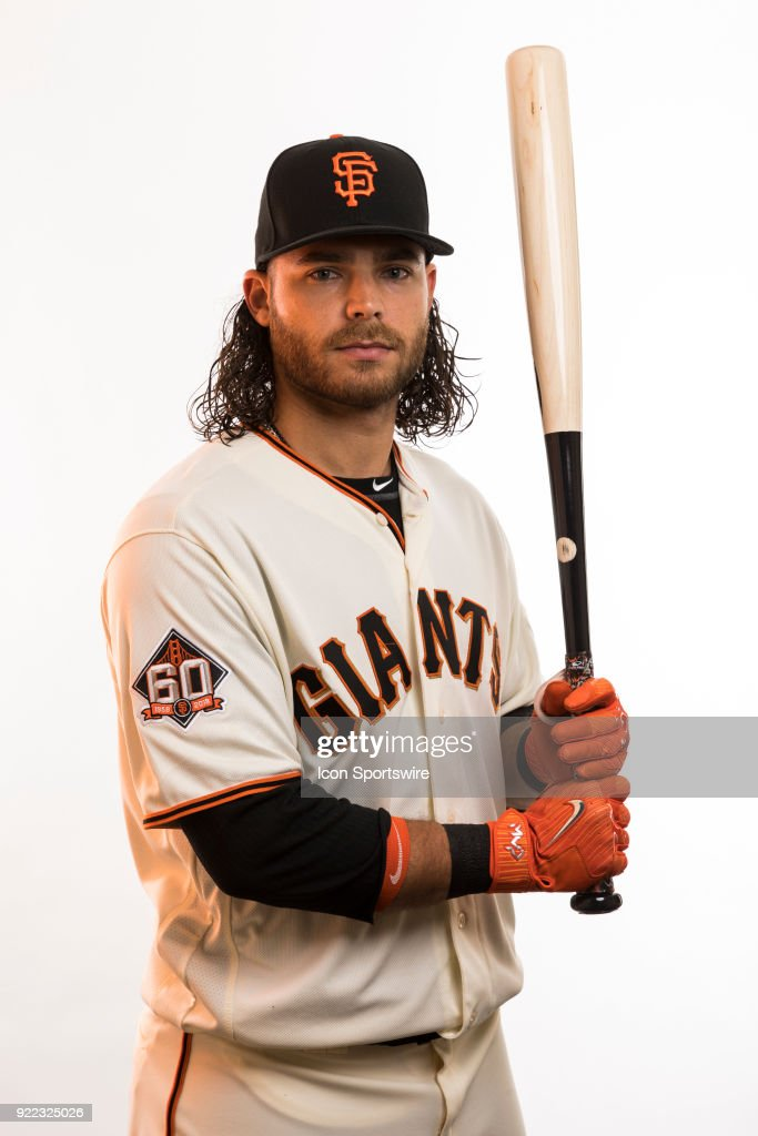 Infielder Brandon Crawfrord (35) poses for a photo during the San Francisco Giants photo day on Tuesday, Feb. 20, 2018 at Scottsdale Stadium in Scottsdale, Ariz.