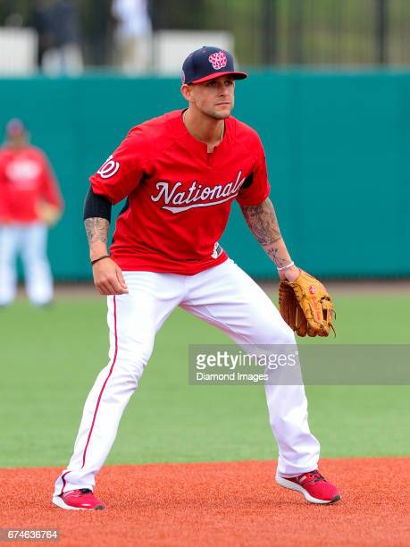 Infielder Brandon Snyder of the Washington Nationals takes part in fielding drills prior to the Naval Academy Baseball Classic game on April 1 2017...