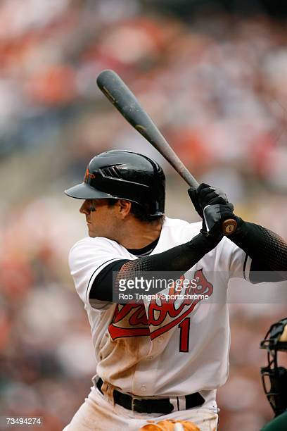 Infielder Brian Roberts of the Baltimore Orioles bats against Tampa Bay Devil Rays at Oriole Park at Camden Yards on April 3 2006 in Baltimore...