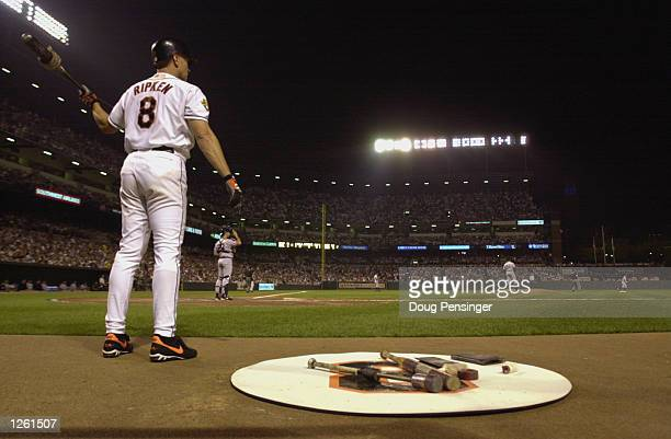 Infielder Cal Ripken Jr. #8 of the Baltimore Orioles waits on deck against the New York Yankees during the game on September 23, 2001 at Oriole Park...