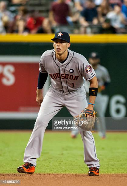 Infielder Carlos Correa of the Houston Astros fields his position during the second inning of a MLB game against the Arizona Diamondbacks on October...