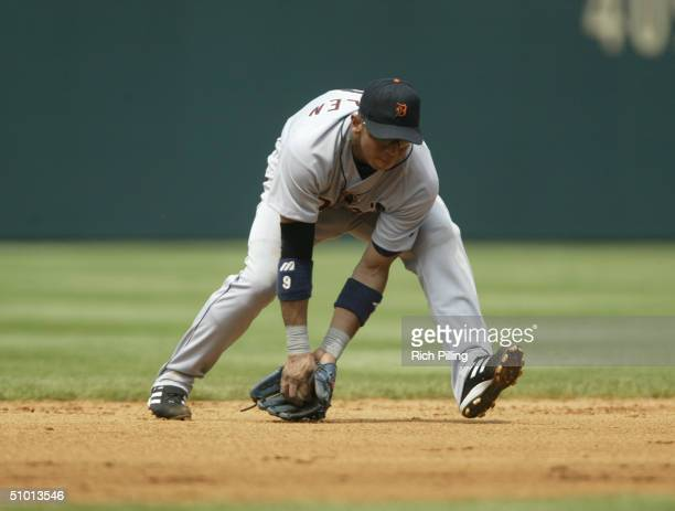 Infielder Carlos Guillen of the Detroit Tigers catches the ball against the Philadelphia Phillies during the interleague game at Citizens Bank Park...