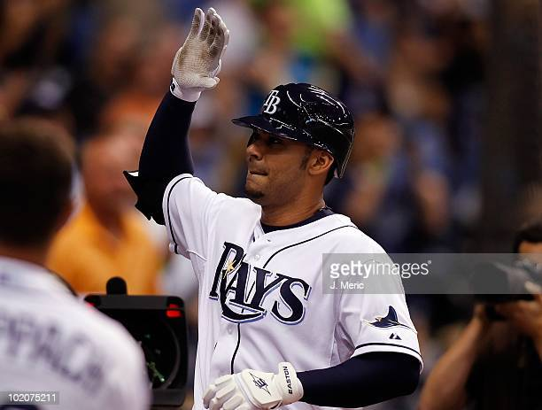 Infielder Carlos Pena of the Tampa Bay Rays celebrates his home run against the Toronto Blue Jays during the game at Tropicana Field on June 9 2010...