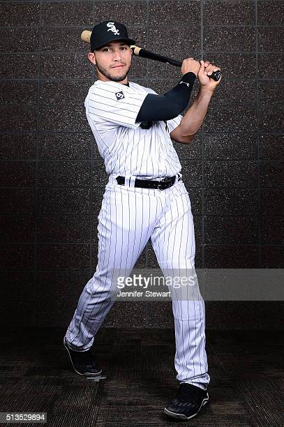 Infielder Carlos Sanchez of the Chicago White Sox poses for a portrait during spring training photo day at Camelback Ranch on February 27 2016 in...