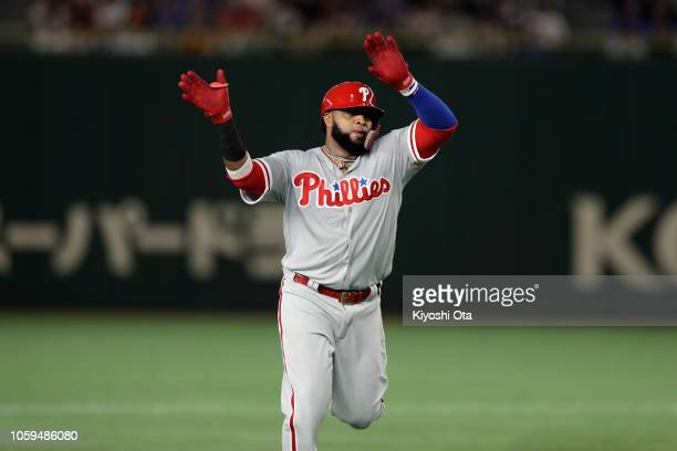 Infielder Carlos Santana of the Philadelhia Phillies celebrates hitting a threerun home run to make it 41 in the top of 5th inning during the game...