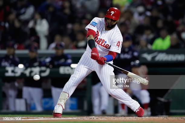 Infielder Carlos Santana of the Philadelhia Phillies grounds out in the bottom of 1st inning during the game four between Japan and MLB All Stars at...