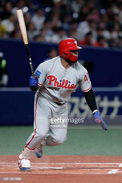 Infielder Carlos Santana of the Philadelhia Phillies grounds out in the top of 1st inning during the game five between Japan and MLB All Stars at...