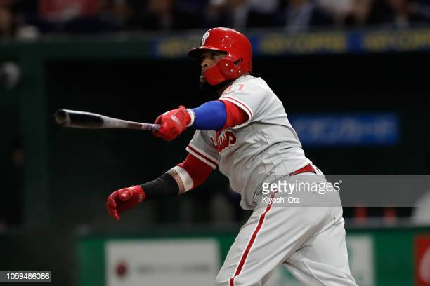 Infielder Carlos Santana of the Philadelhia Phillies hits a threerun home run to make it 41 in the top of 5th inning during the game one of the Japan...