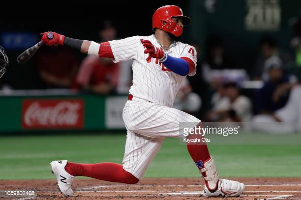 Infielder Carlos Santana of the Philadelhia Phillies strikes outin the bottom of 1st inning during the game two of the Japan and MLB All Stars at...