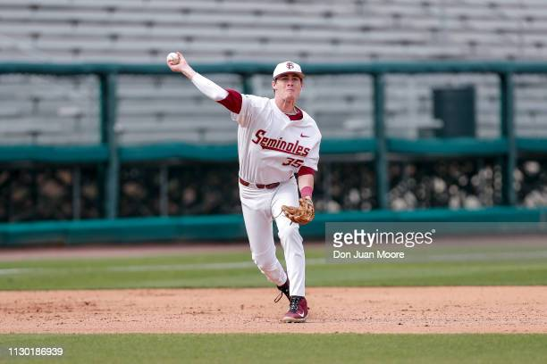 Infielder Carter Smith of the Florida State Seminoles in action during the game against the Maine Black Bears at Dick Howser Stadium on the campus of...