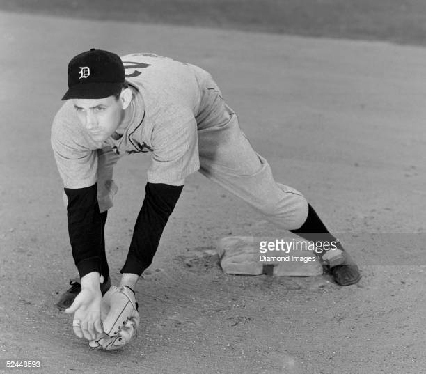 Infielder Charlie Gehringer of the Detroit Tigers poses for an action portrait on March 5 1940 during Spring Training in Lakeland Florida