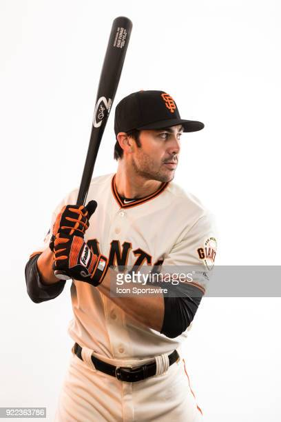Infielder Chase d'Arnaud poses for a photo during the San Francisco Giants photo day on Tuesday Feb 20 2018 at Scottsdale Stadium in Scottsdale Ariz