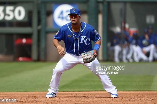 Infielder Cheslor Cuthbert of the Kansas City Royals in action during the spring training game against the San Francisco Giants at Surprise Stadium...