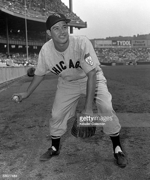 Infielder Chico Carrasquel of the Chicago White Sox poses for a portrait prior to a game in 1951 against the New York Yankees at Yankee Stadium in...