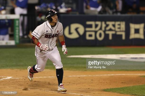 Infielder Choi Joo-Hwan of Doosan Bears hits a home run to make it 4:2 in the bottom of the sixth inning during the KBO League game between Samsung...