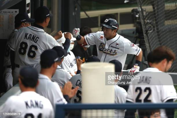 Infielder Choi Joo-Hwan of Doosan Bears reacts after hits two run homerun in the bottom of second inning during the KBO League game between LG Twins...