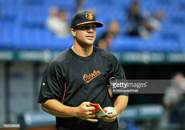 Infielder Chris Davis of the Baltimore Orioles takes batting practice before play against the Tampa Bay Rays April 4 2013 at Tropicana Field in St...