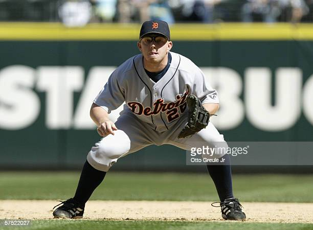 Infielder Chris Shelton of the Detroit Tigers in action against the Seattle Mariners during the MLB game on April 23 2006 at Safeco Field in Seattle...